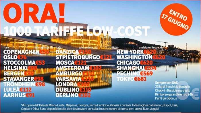FlySAS: tariffe low cost per volare in Europa e nel mondo